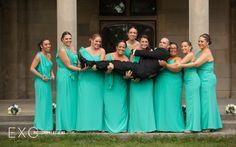 Landa designs turquoise bridesmaids dresses  photographers by Long Island wedding photographers www.exophotography.com