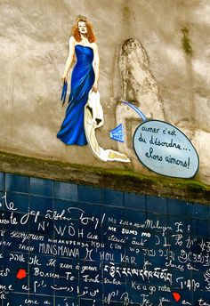 """Montmarte,Paris...Le Mur des Je T'Aime...the wall of """"I LOVE YOU's""""..written in over 250 languages to inspire peace and love..."""