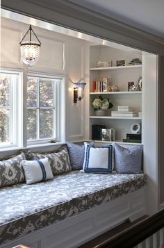 Nightingale Design - girl's rooms - reading nook, gray ikat pillows