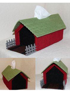 Plastic Canvas - Tissue Topper Patterns - Covered Bridge Tissue Box Cover