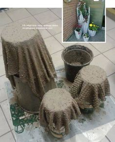 I made concrete planters for a total cost around 7 dollars. If I used the whole bag of concrete I could make 23 planters for that 7 dollars. Diy Cement Planters, Cement Flower Pots, Cement Art, Concrete Pots, Concrete Crafts, Concrete Projects, Concrete Garden, Painting Concrete, Garden Crafts