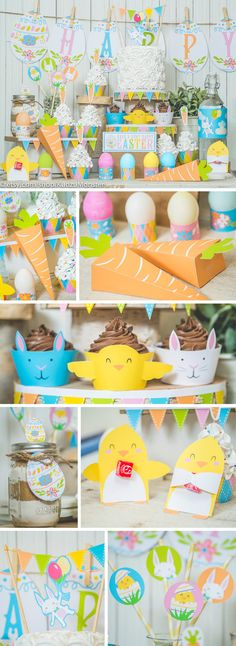 Easter printable decor kit easter bunny carrot favor boxes baby chicks eggs holder cupcake wrappers DIY easter brunch party instant download