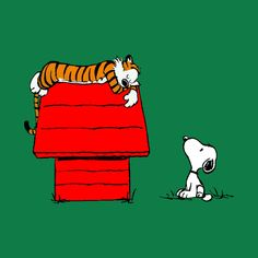 Hobbes visits Snoopy