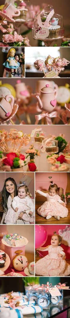 Love the clock party favors Garden Birthday, Tea Party Birthday, Baby Party, Mad Hatter Party, Mad Hatter Tea, Princesa Alice, Disney Cupcakes, Festa Toy Story, Alice In Wonderland Tea Party