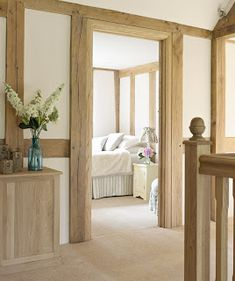 Retro Home Decor Barn Conversion Interiors, Oak Bedroom, Bedroom Doors, Oak Frame House, Interior Minimalista, Rustic Home Design, Quirky Home Decor, House Doors, Cottage Interiors