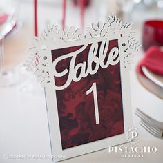 Framed wedding table number by www.pistachiodesigns.co.za Wedding Frames, Wedding Table Numbers, Pistachio, Place Cards, Reception, Stationery, Place Card Holders, Design, Pistachios