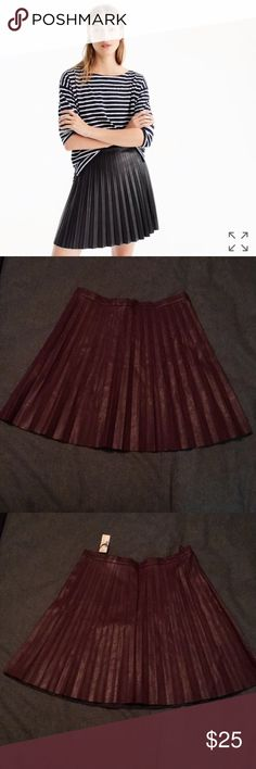 NWT J.Crew faux leather pleated skirt, size 8 NWT J.Crew faux leather pleated skirt, size 8.  Bordeaux color. Please note that the cover shot is of a black skirt and the skirt I am selling is Bordeaux J. Crew Skirts