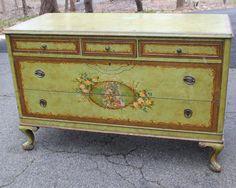 Adams Style Hand Painted Antique Dresser