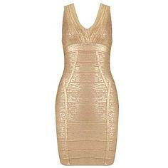 Señoras vaina V-cuello del oro corta impresa del vestido del vendaje – USD $ 74.19