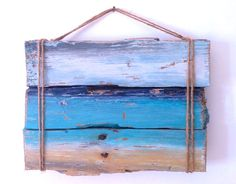 Painting on Driftwood of a Mediterranean Beach, Wall Decor  This painting is made from driftwood I found on my local beach which has been washed in from