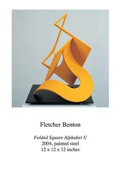 Fletcher Benton (American, born 1931) ~    'Folded Square Alphabet U'  ~ 2004 ~  Painted Steel ~ 12 x 12 x 12 inches