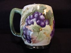 Large Limoges Porcelain ~ Mug / Stein / Tankard ~ Hand Painted with a Vibrant Purple Grape Motif – Jean Pouyat JPL France 1890-1932