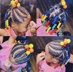 Black Baby Girl Hairstyles, Little Girls Natural Hairstyles, Toddler Braided Hairstyles, Little Girl Braid Hairstyles, Toddler Braids, Toddler Haircuts, Kid Hairstyles, Kids Braids With Beads, Braids For Kids