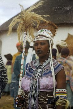 A Traditional Healer of the Xhosa people of South Africa wearing traditional bead work. Xhosa Attire, Africa Tribes, Africa People, African Trade Beads, African Culture, World Cultures, African Fashion, South Africa, Traditional