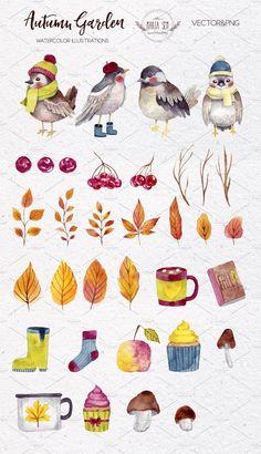 Autumn Garden by Maria Sem Watercolors on @creativemarket