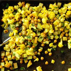 Roasted Curried Chickpeas and Cauliflower Recipe -When there's not much time to cook, try roasting potatoes and cauliflower with chickpeas for a warm-you-up dinner. Add chicken or tofu to the sheet pan if you like. Side Dish Recipes, Vegetable Recipes, Dinner Recipes, Side Dishes, Main Dishes, Veggie Meals, Whole Food Recipes, Cooking Recipes, Healthy Recipes