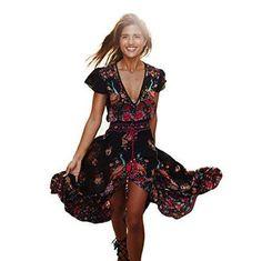 Oferta: 11.99€. Comprar Ofertas de Vestido, Oyedens Las Mujeres Imprimen El Vestido De Partido Retro Floral Del Partido Del V-Cuello Del Palacio (M) barato. ¡Mira las ofertas!