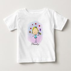 Baby Shirts, Shirts For Girls, Second Baby Announcements, T Shirt Painting, Gender Neutral Baby Clothes, Cute Cartoon Girl, Girls With Flowers, Design Girl, Stylish Baby