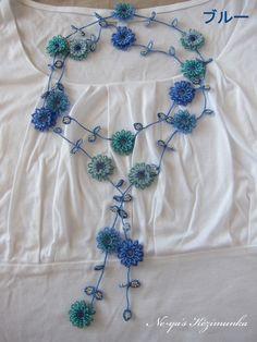 レース編み&ビーズ☆爽やか色のお花のラリエット
