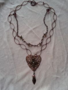 Vintage copper beaded piece mounted onto copper pendant base - May 2014