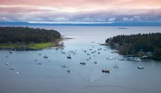The 'Gap' as it is known locally. Newcastle Island on the left and Protection Island on the right. Both these islands give Nanaimo a very well guarded harbour.