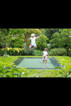 In-ground trampoline...maybe a trampoline daddy would go for?????  probably not...but still...HOW GREAT!!!!