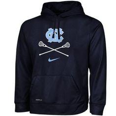 Mens North Carolina Tar Heels Nike Navy Blue Lacrosse KO Performance Hoodie