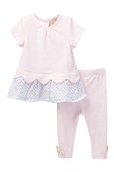 kate spade new york Eyelet Top & Legging Set (Baby Girls)