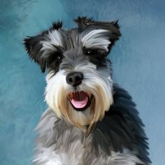 #Miniature #Schnauzer #Dog #WaterColor #Art #Painting #bestseller #animal #pet