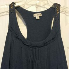 American Eagle tank dress with sequin detail Beautiful navy blue dress with gold and blue sequin detail along straps and back of cotton dress. Looks great with a belt and boots. Perfect for summer. American Eagle Outfitters Dresses