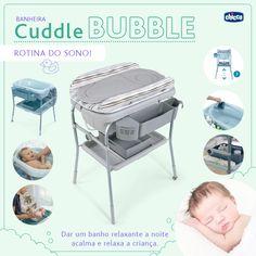Banho relaxante <3 O banho diário, especialmente durante os primeiros meses de vida, é um momento de carinho e descontração tanto para a mãe como para o bebê. Quanto mais confortável o seu bebê está no banho, maior é a garantia da correta higiene.  O banho também ajuda acalmar a energia do bebê e criar uma rotina para indução do sono. A Banheira Cuddle Bubble da Chicco é ideal para as mamães que querem ser práticas na hora do banho do bebê. Por possuir uma estrutura alta facilita o (...)
