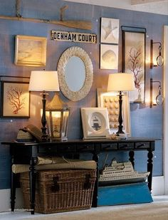 hallway walll? love this little table with basket- not nautical theme though #Tropical #seafans, etc