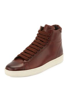Russel+Leather+High-Top+Sneaker,+Brown+by+TOM+FORD+at+Neiman+Marcus.