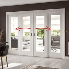A free delivery is standard, these Easi-Slide white full pane shaker sliding doors incorporating a frame and track set with fixed side… Sliding Door Systems, Double Sliding Glass Doors, French Sliding Patio Doors, Glass French Doors, French Doors With Sidelights, Bedroom With French Doors, Living Room Double Doors, Sliding Glass Door Replacement, Internal Glass Sliding Doors