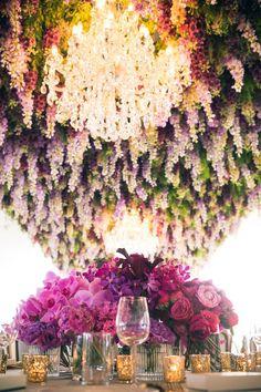colourful hanging flower installation / http://www.himisspuff.com/wedding-flower-decor-ideas/