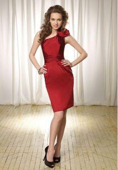 Taffeta One-Shoulder Sheath Short Bridesmaid Dress