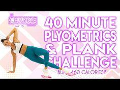 40 Minute Plyometrics and Plank Challenge 🔥Burn 460 Calories!* 🔥The CHANGE Challenge Thigh Challenge, Plank Challenge, Workout Challenge, Interval Training Workouts, High Intensity Interval Training, Workout Exercises, Body Exercises, Hiit, Cardio