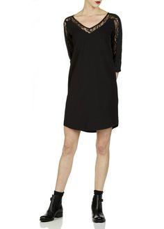 c589dc7deda0d Robe droite incrustée de dentelle Noir by BEST MOUNTAIN Robe Droite, Place  Des Tendances,