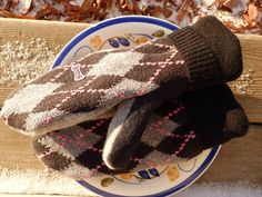 Mittens Black Mittens Recycled Wool Mittens Eco Friendly by SewCat