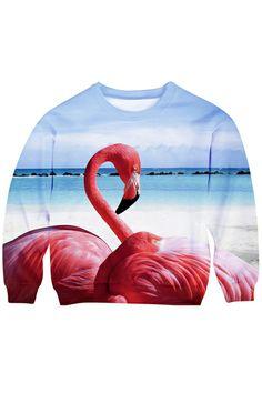 ROMWE Seaside Flamingo Print Long-sleeved Sweatshirt