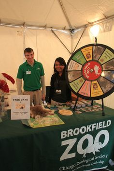 The Brookfield Zoo Prize Wheel (http://PrizeWheel.com/products/tabletop-prize-wheels/tabletop-black-clicker-prize-wheel-12-slot/)