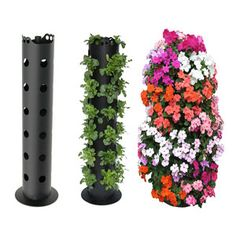 "Flower Tower - Freestanding Vertical Planter, so easy! Lowes sells the 4 to 6"" round PVC pipe with holes already drilled. Purchase an end cap, fill with rock, soil, and plant. I will often put these in the center of a very large pot to stabilize, and add amazing height and color to a container that has trailing plants (no end cap or rock needed if you are placing in a container)  Interesting  JT"