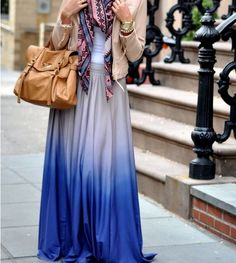 Loving the ombre maxi skirt, and this whlole look.