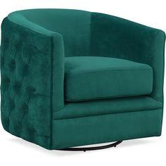 Living Room Furniture - Chloe Swivel Chair - Emerald
