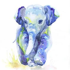 Baby Elephant Art, Watercolor Painting, from ValrArt on Etsy