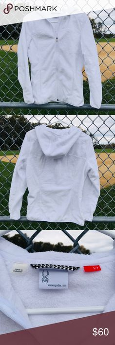 Spyder Zip Up Hoodie White fleece by spyder. Extra soft material. It's a full zip with a hood. In great condition. Only worn a few times. 42ATHL-42SMA-WL25 Spyder Jackets & Coats