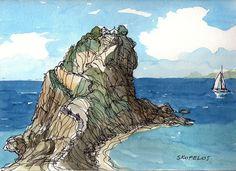 Impresión de un Acuarela original de arte de Grecia Skopelos