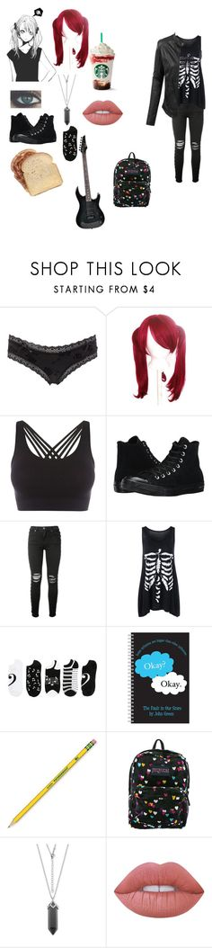 """""""Ava (oc)"""" by twilightfreak18-1 ❤ liked on Polyvore featuring Charlotte Russe, Pepper & Mayne, Converse, AMIRI, Music Notes, Dixon Ticonderoga, JanSport, Lime Crime, LE3NO and R2"""