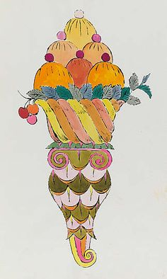 Ice Cream Dessert, 1959, blotted line technique, ink and dye on paper, Andy Warhol