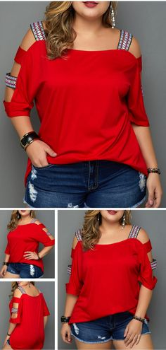 Ladder Cutout Sleeve Blouse is a must: why not look both extravagant and elegant all at once? See our top guide to pick out something for yourself. Trendy Clothes For Women, Blouses For Women, Cool Outfits, Casual Outfits, Diy Vetement, Looks Plus Size, Plus Size Blouses, Refashion, Pattern Fashion
